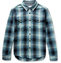 Outerknown Checked Organic Cotton Fanne Shirt Petro Petrol