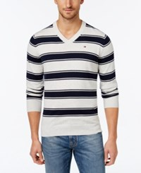 Tommy Hilfiger Men's Striped V Neck Sweater Ice Grey Heather Navy Blazer
