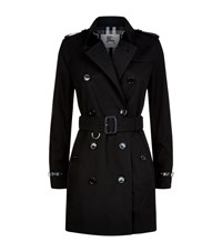 Burberry Kensington Leather Trim Gabardine Trench Coat Female Black