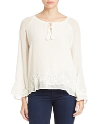Sanctuary Embroidered Tie Neck Tunic Cream
