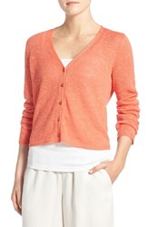Eileen Fisher Women's Organic Linen And Cotton V Neck Cardigan Guava
