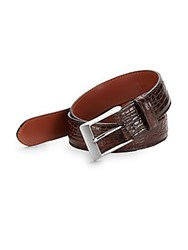Saks Fifth Avenue Croc Embossed Leather Belt Dark Brown