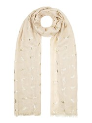 Yumi Gold Feather Scarf Brown
