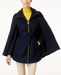 Laundry By Shelli Segal Belted Cape Coat Only At Macy's Navy