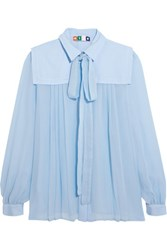 Msgm Pussy Bow Pleated Silk Crepe Blouse Sky Blue