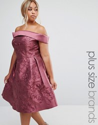 Chi Chi Plus London Off Shoulder Midi Dress Berry Purple
