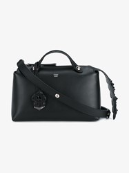 Fendi Small Leather Floral By The Way Bag Black Metallic Silver