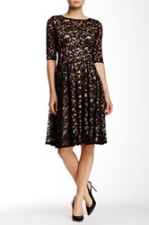 Adrianna Papell 3 4 Length Sleeve Allover Lace Dress Black