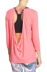 Zella Women's 'Cat' Cowl Open Back Tee Pink Splash