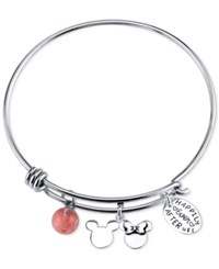 Disney Happily Ever After Cherry Quartz Charm Bracelet In Stainless Steel