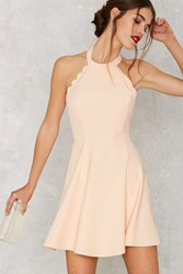 Nasty Gal Full Scallop Attack Flare Dress Peach
