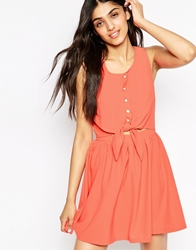 Lovestruck Pippa Shirt Dress With Tie Front Coral