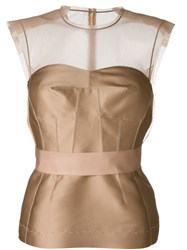 Lanvin Sheer Panel Bustier Top Nude And Neutrals
