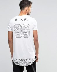 Asos Super Longline T Shirt With Bandana Hem And 88 Back Print In White White