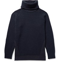 John Smedley Merino Wool Blend And Sea Island Cotton Rollneck Sweater Navy