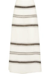 Zeus Dione Lefkes Striped Textured Silk Blend Maxi Skirt White