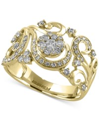 Effy Final Call Diamond Filigree Floral Ring 1 2 Ct. T.W. In 14K Gold Yellow Gold