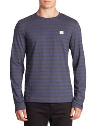 Acne Studios Striped Long Sleeve T Shirt Blue
