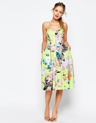 Asos Salon Lime Floral Bandeau Midi Prom Dress Multi