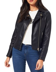 Miss Selfridge Elsy Faux Leather Biker Jacket Black