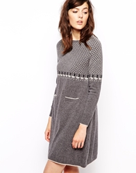 Orla Kiely Knitted Dress In Raining Cat Fairisle Greymelange