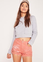 Missguided High Waisted Shredded Denim Shorts Pink Grey