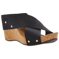 Dune Gladley Fabric Cross Over Cork Wedges Black