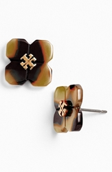 Tory Burch 'Babylon' Logo Stud Earrings Tortoise Shiny Gold