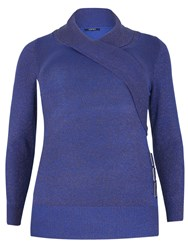 Samya Plus Size Wrap Front Knitted Top Blue