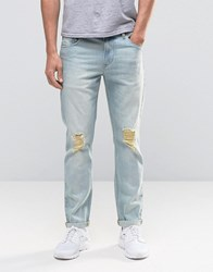 Asos Stretch Slim Jeans With Knee Rips In Bleach Blue Bleach Blue