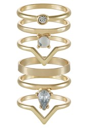 Miss Selfridge 6 Pack Ring Crystal Transparent
