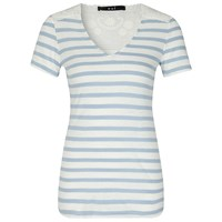 Oui Stripe Lace Panel T Shirt Light Blue White