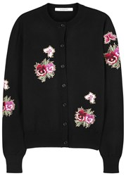 Givenchy Black Floral Embroidered Wool Cardigan