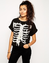Asos T Shirt With Bleached Skeleton Print Black