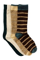 Lucky Brand Dash Stripes And Marl Crew Socks Pack Of 4 Brown
