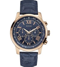 Guess W0380g5 Horizon Rose Gold Plated Watch Blue