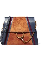 Chloe Faye Medium Leather And Suede Shoulder Bag Storm Blue