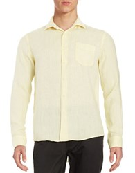 Black Brown Linen Button Front Shirt Custard