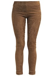 Ventcouvert Leather Trousers Taupe Grey