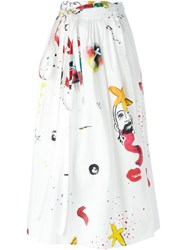 Marc Jacobs Collage Print Wrap Skirt White