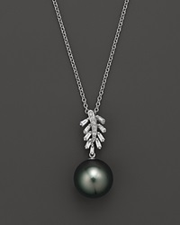Bloomingdale's Cultured Tahitian Pearl Pendant Necklace With Diamonds And Baguettes In 14K White Gold 16 Black