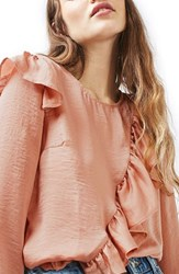 Topshop Women's Satin Ruffle Blouse Dusty Pink