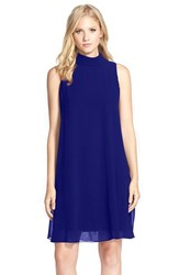 Women's Vince Camuto Mock Neck Chiffon Trapeze Dress Royal