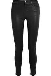 J Brand 620 Super Skinny Coated Mid Rise Jeans Black