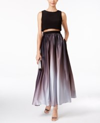 Betsy And Adam Petite Ombre Illusion Popover Gown Black Silver