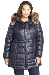Plus Size Women's Laundry By Design Faux Fur Trim Hooded Quilted Coat Mystic Blue