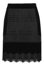 Topshop Velvet Mix Lace Mini Skirt Black