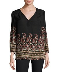 Joie Riva Floral Print Silk Top Black
