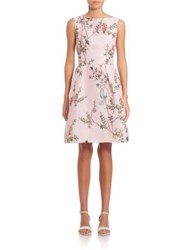 Monique Lhuillier Bird Print Silk Dress Pink Multi