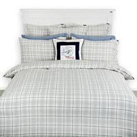 Lexington The Fall Collection Checked Flannel Duvet Cover White Grey Blue King
